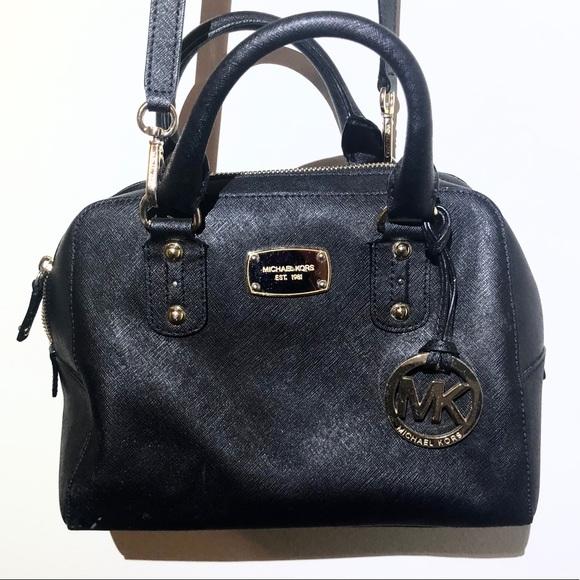 1336bbbb93a5 Michael Kors Bags | Mk Saffiano Leather Black Satchel | Poshmark